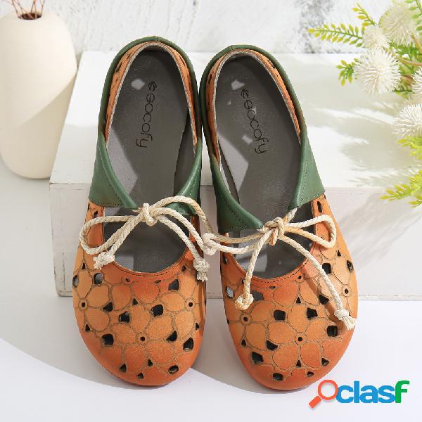 SOCOFY Zapatos planos con cordones, mulas sin cordones y