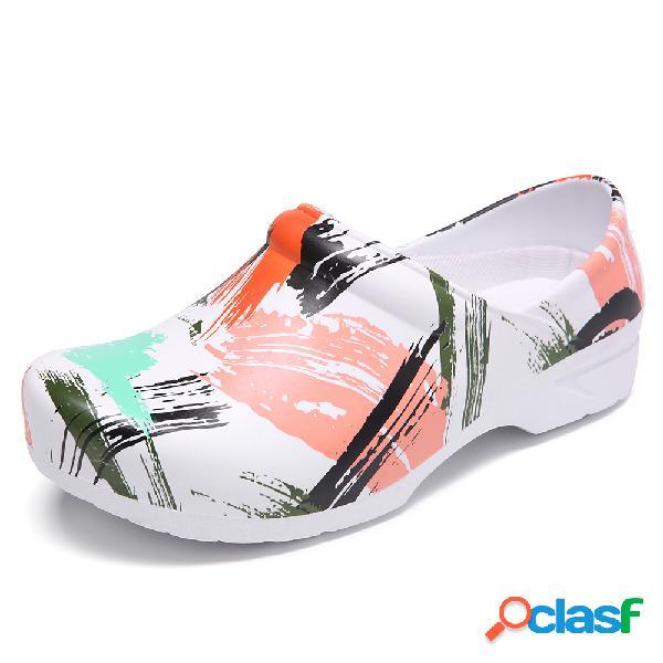 SOCOFY Zapatos planos de trabajo antideslizantes de trabajo