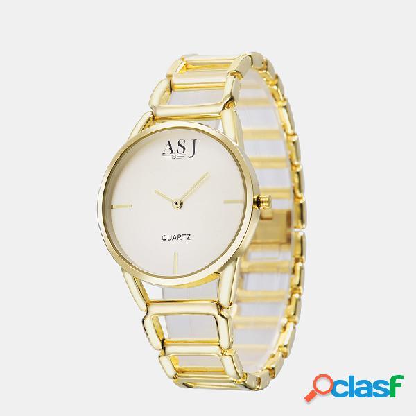 Simple Elegante Mujer Reloj de pulsera de aleación hueca