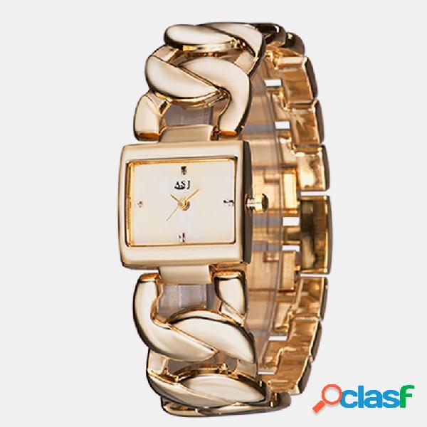 Simple Trendy Mujer Reloj de pulsera de acero hueco Banda