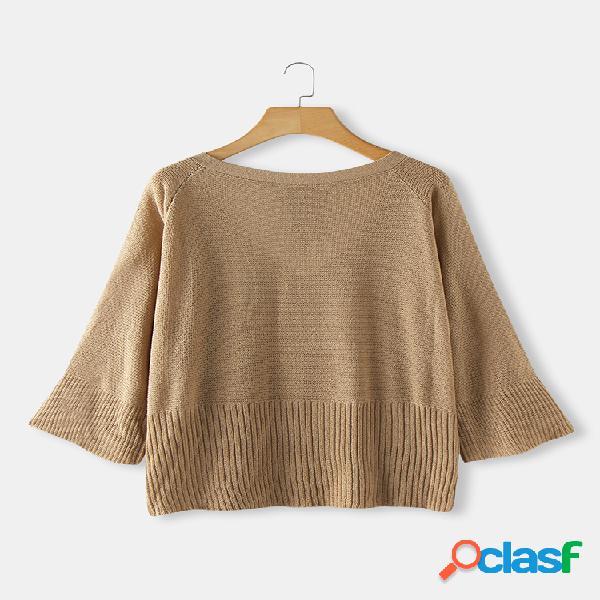 Suéter con cordón de manga de trompeta de color sólido