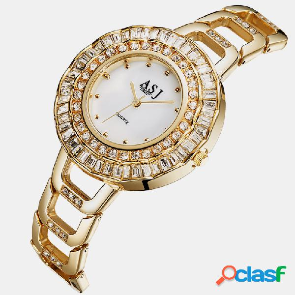 Trendy Mujer Reloj de pulsera de acero hueco Banda Pulseras