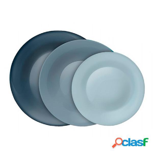 Vajilla 18 piezas vidrio decorado tone grey