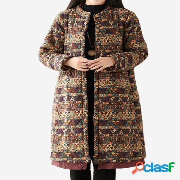 vendimia Abrigo de invierno de patchwork con solapa y