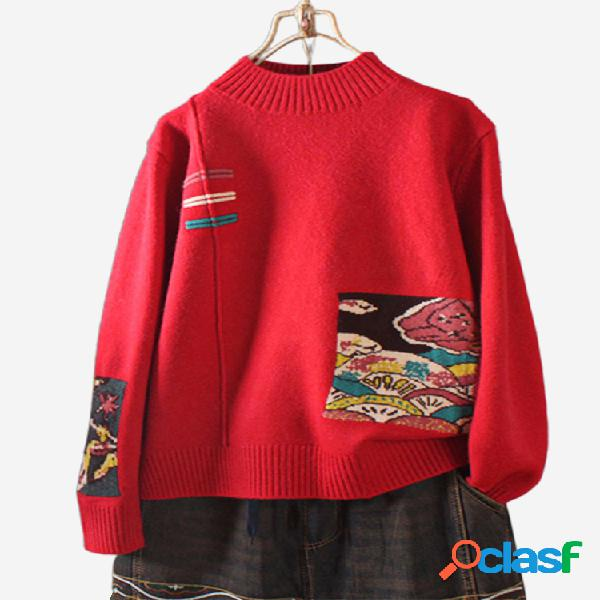 vendimia Jersey de manga larga con cuello alto y parche