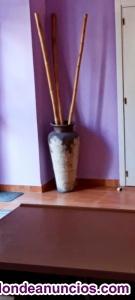Bonito jarrón con cañas de bambú