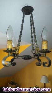 Vendo lámpara rústica y antigua para salón.