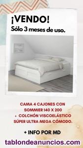 Cama 140x cajones Ikea + Colchón casi sin uso