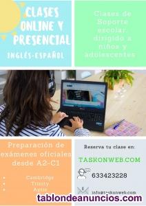 Clases de Inglés, soporte escolar y clases de español para