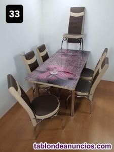 Mesa de comedor extensible con 6 sillas de cuero (piel)