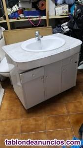 Mueble lavabo marmol y mesita incorporada