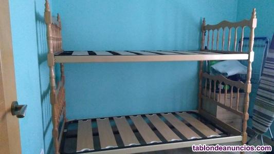 Litera de madera convertible en 2 camas de 90.