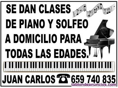 Clases particulares de piano y solfeo a domicilio para todas