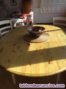 Vendo Mesa extensible redonda de madera maciza de pino