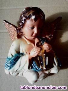 Figura ángel de la guarda escayola policromada años 60