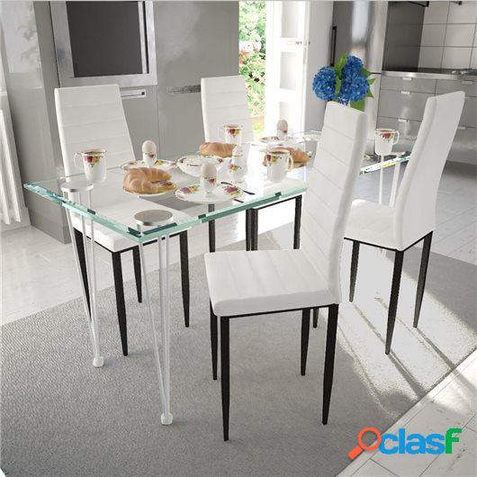 4 sillas blancas comedor Slim Line mesa de vidrio