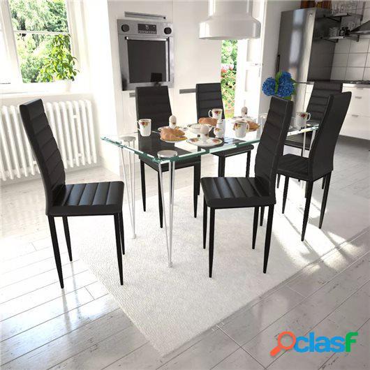 6 sillas negras comedor Slim Line mesa de vidrio