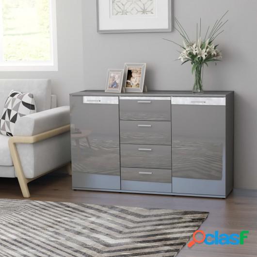 Aparador de aglomerado gris brillante 120x35,5x75 cm