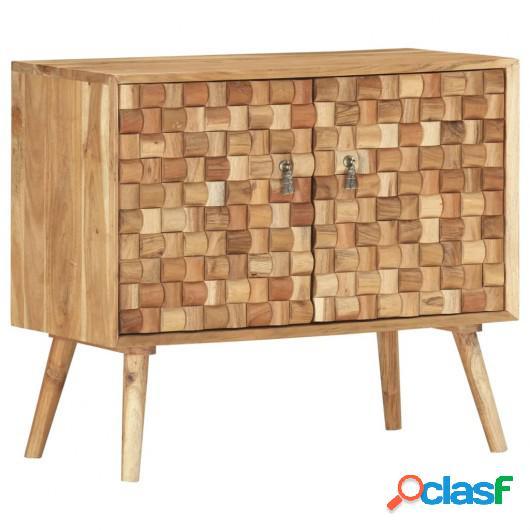 Aparador de madera maciza de acacia 75x35x65 cm