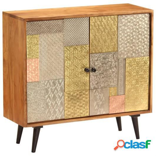 Aparador de madera maciza de acacia 80x30x75 cm
