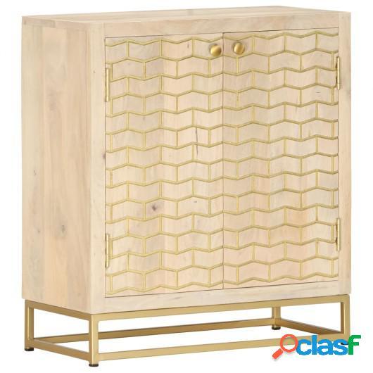 Aparador de madera maciza de mango dorado 60x30x70 cm