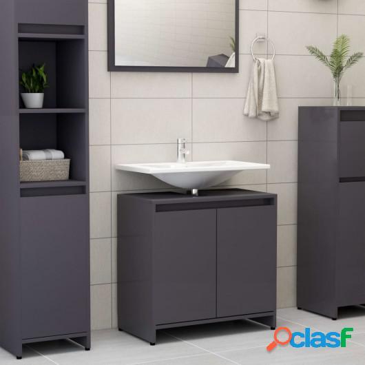 Armario cuarto de baño aglomerado gris brillante 60x33x58