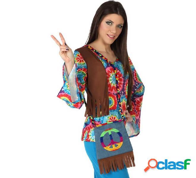 Bolso Hippie con Símbolo de la Paz con Flecos