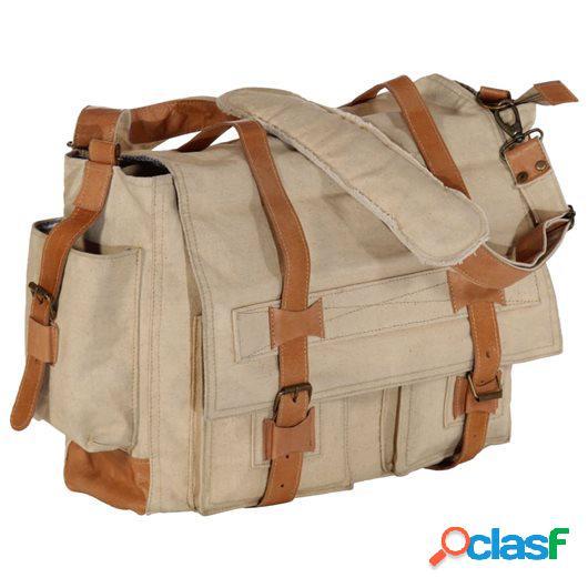 Bolso de hombro beige 42x13x34,5 cm lona y cuero real