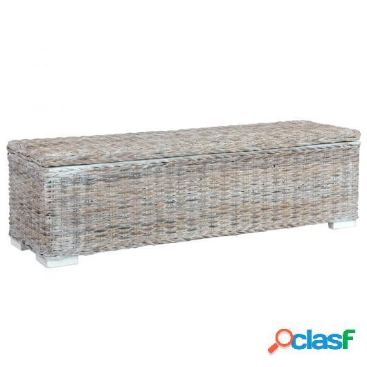 Caja almacenaje ratán kubu y madera maciza mango blanco 120