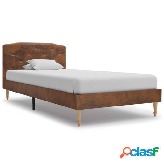Cama con colchón piel ante sintética marrón 90x200 cm