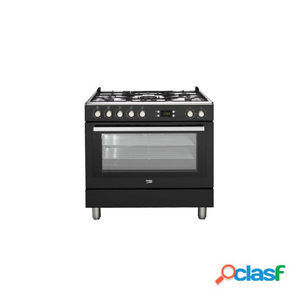 Cocina Gas - Beko GM15310DB 90 cm 5 fuegos Negro