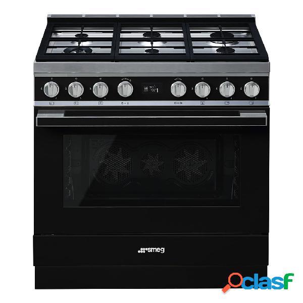 Cocina Gas y Eléctrica - Smeg CPF9GMBL 90 cm 6 fuegos Negro