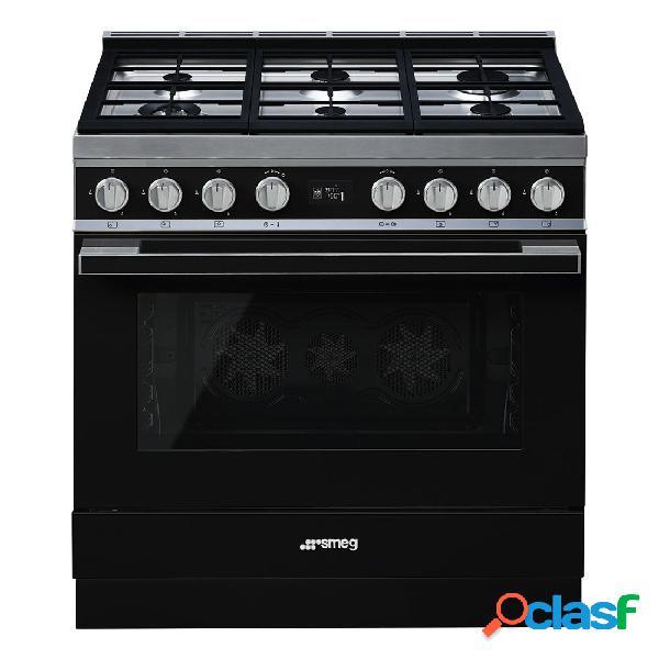 Cocina Gas y Eléctrica - Smeg CPF9GPBL 90 cm 6 fuegos Negro