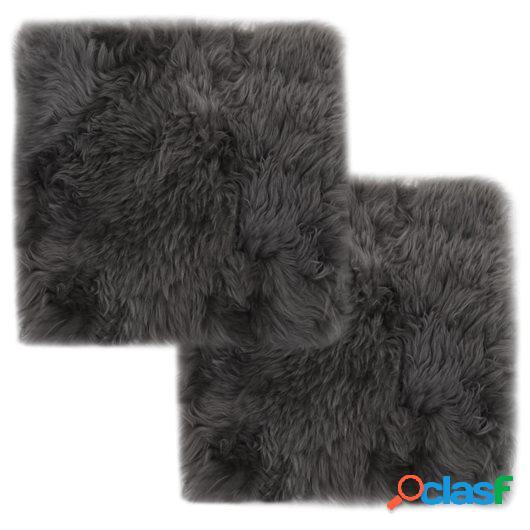 Cojines de silla 2 uds piel de oveja real gris claro 40x40