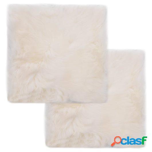 Cojines de sillas 2 uds piel de oveja auténtica blanco