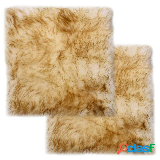 Cojines de sillas 2 uds piel oveja real marrón mezcla 40x40