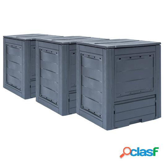 Compostadores de jardín 3 unidades gris 780 L 60x60x73 cm