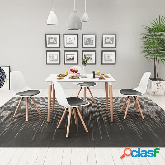 Conjunto de mesa de comedor y sillas 5 piezas blanco y negro