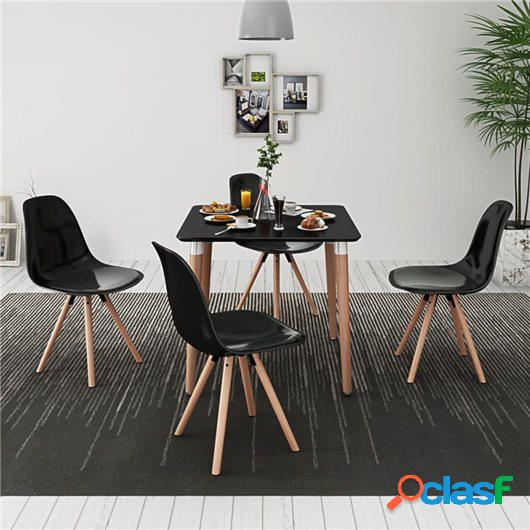 Conjunto de mesa de comedor y sillas 5 piezas negro