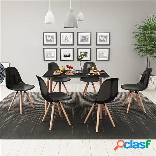Conjunto de mesa de comedor y sillas 7 piezas negro