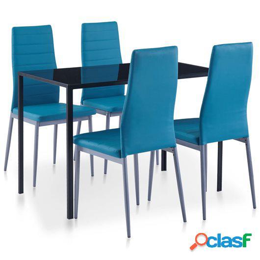 Conjunto de mesa y sillas de comedor 5 piezas azul