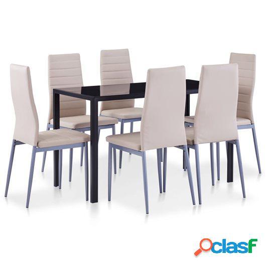 Conjunto de mesa y sillas de comedor 7 piezas color