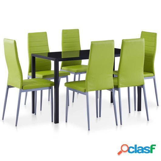 Conjunto de mesa y sillas de comedor 7 piezas verde