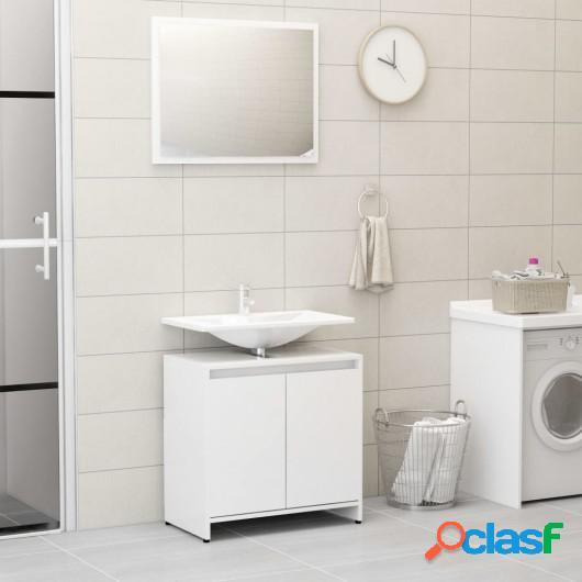 Conjunto de muebles de baño aglomerado blanco brillante