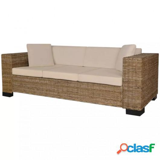 Conjunto de sofá de 3 plazas ratán auténtico