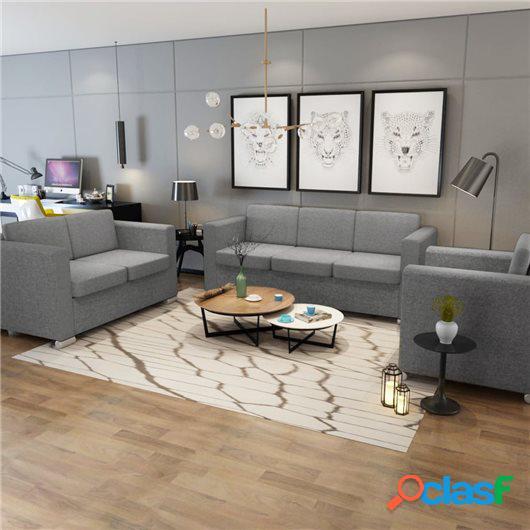 Conjunto de sofás 3 unidades tela gris claro