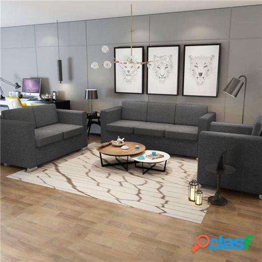 Conjunto de sofás 3 unidades tela gris oscuro
