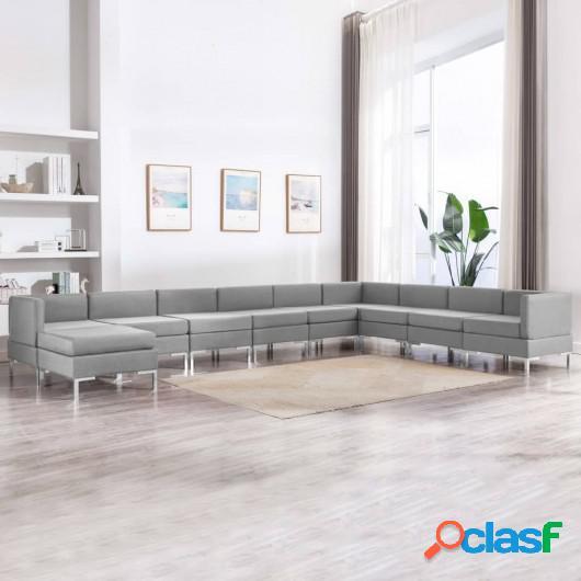 Conjunto de sofás de 10 piezas tela gris claro