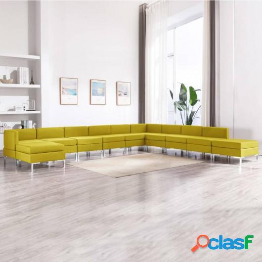 Conjunto de sofás de 11 piezas tela amarillo