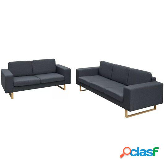Conjunto de sofás de 2 y 3 plazas gris oscuro